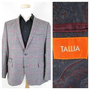 Tallia Gray Red Plaid Windowpane Wool Sport Coat